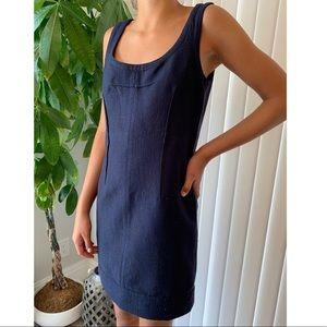 THEORY navy gold ABIA sleeveless dress wool 6